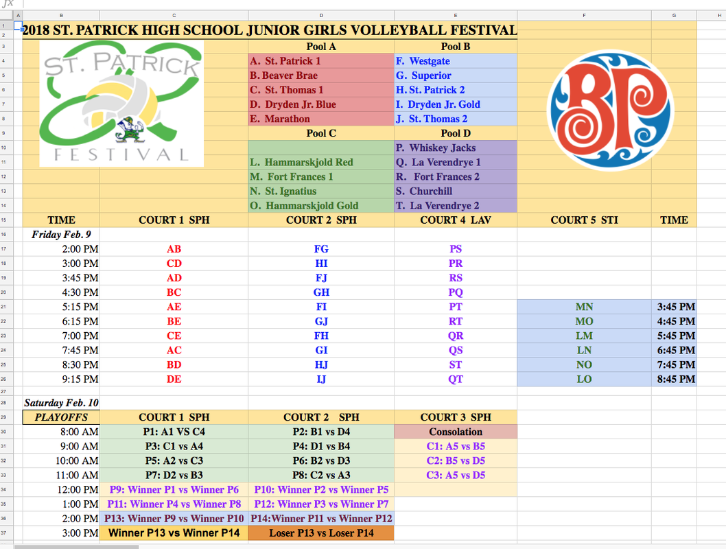 Jr  Girls Schedule 2 - St  Patrick Volleyball Festival