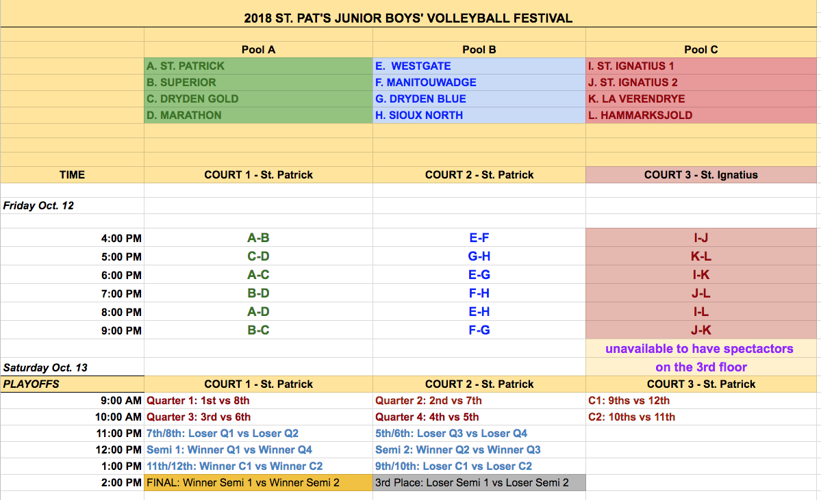 Jr  Boys Schedule 2 - St  Patrick Volleyball Festival